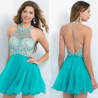 Wholesale New Arrival Turquoise Short Dress Halter Open Back Mini Chiffon Short Homecoming Cocktail Prom Dresses with Beads Crystal