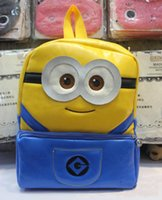 Wholesale Despicable Me Minion PU Backpack Boy and Girl Cartoon School Bag Cute Children s Backpack DM10014