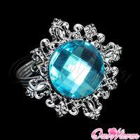 dinner napkin - Aqua Blue Diamond Napkin Ring Serviette Holder Wedding Party Banquet Table Dinner Decor Favor Colors New Crafts