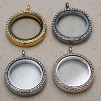 Cheap Round CZ Crystal Floating Charm Glass Living Memory Locket Necklace Chain 4 Colors