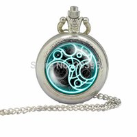 Wholesale Vine Doctor Who tardis silver Pocket Watch mens quartz steampunk Dr Who masters locket necklace Timelord Seal pedant