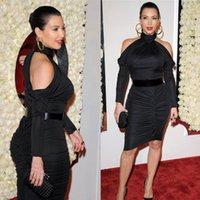 Cheap Kim Kardashian Fashion Awards Prom Dresses 2015 High Neck Sexy Off Shoulder Long Sleeve Sheath Knee Length Women Celebrity Cocktail Gowns