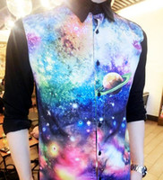 Wholesale 2015 Hot Selling New Arrival Popular D Printing Galaxy Shirts For Men Fashion Men s Printed Shirt