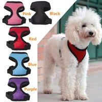 pet fabric - Hot Sales Puppy Dog Harness Vest Pet Apparel Nylon Fabric Soft Mesh Adjustable Colours Sizes MD2