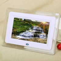 Wholesale New quot HD TFT LCD Digital Photo Picture Frame Alarm Clock MP3 MP4 Movie Player with Light Remote Desktop EU US Plug