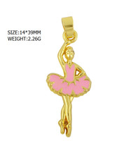 ballet material - good quality a zinc alloy material k gold plated pink enamel skirt ballerina ballet dance charm for necklace making