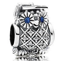 cheap pandora bracelet beads - Fit Pandora Bracelets Charms Beads Sterling Silver Jewelry Outlet Cheap DIY OWL SILVER CHARM WITH Clear CZ For Women