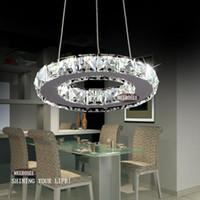 Wholesale Crystal Circle Chandelier - Modern Silver Crystal Ring LED Chandelier Pedant Crystal Lamp   Light   Lighting Fixture Modern LED Circle Light