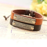 Wholesale Fashion dog tag love to the key genuine leather bracelet Wristband Cuff balck brown punk jewelry for men women Valentine s Day gift