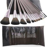 cheap makeup - Cheap Makeup Brush Sets with Crocodile Leather Case Brown Color A Set Synthetic Fiber Professional Makeup Brush Set