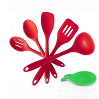 Wholesale Silicone piece Kitchen Cooking Utensil Gadget Set Silicone Spoon Rest Heat Resistant Hygienic Solid Holder Hanger