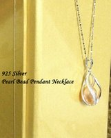 Wholesale Solid Silver Twisted Teardrop Cage Lockets with mm Genuine Freshwater Pearl Pendant Wish Pearl Pendant Twisted Teardrop DIY Charms