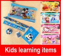 Wholesale PVC Transparent Cartoon Frozen Pencil Case Bags Anna Elsa Pen Case Bag with Stationery for Boys Girls Children Kids Gift
