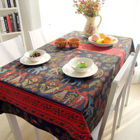 Wholesale New Popular Hot Southest Asian Style National Flavor Hotel Home Tablecloth Cotton Linen Maya People Elephant Table Cloth