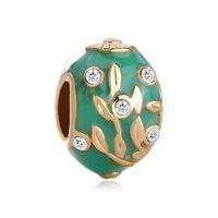 large hole beads - Fashion women jewelry Pandora style Faberge egg color enameled leaf tree European spacer bead large hole charms for beaded bracelet