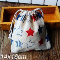 Wholesale Linen Bag Drawable Packaging Bag Wedding Gift Bags quot Stars print quot x20cm