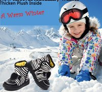Wholesale Retail Children Boots Winter Warm PU Zebra Model Shoes Boys Girls Waterproof Snow Boots Kids Cartoon D Zebra Shoes Colours
