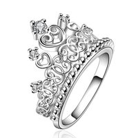 Wholesale Hot Women s Princess Crown Silver Plated Copper Finger Jewelry Gift Ring Size