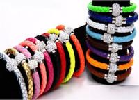 17 colores MIC Shambhala de la armadura de cuero brazalete magnético de las pulseras del corchete Checa Crystal Rhinestone Cuff arcilla regalo de Navidad Pulseras