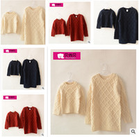 Wholesale Mother and Daughter Clothes Outfits Autumn Winter Crochet Sweater Long SLeeve Mother And Daughter Matching Clothes Family Clothing m0559