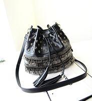 Wholesale women fashion elegance charming chinese style rivet PU leather drawstring bags x06020