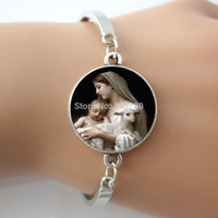 baby id bracelets - Nativity Virgin Mary Jesus and Lamb Bracelet Spiritual Religious Mother and Baby Sheep Bracelet one piece free Shippng BW001