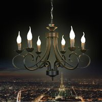Wholesale Large Wrought Iron Chandelier E14 LED Light Venge Black Candelabra Antler Vintage Antique Art Pendant Lamp