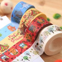 Wholesale Color Cartoon Animals Washi Paper Tape Decorative Stickers Stationery Supplies New Hot Sell Creative Fashion Shipping From China
