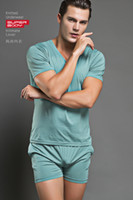mens sleepwear - Mens Sleeping Short T Shirt Cotton Pajama Set Sleepwear Sexy Mens Underwear Tees Undershirts Tshirts Brand Superbody