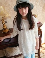 beaded tshirt - New Autumn Wear Princess Style Beaded White Lace Tshirt For Youth Girls Long Sleeve Round Collar Children Tops Age K172