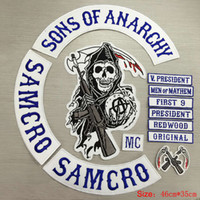 Wholesale USA UK pop fashion Hot Selling Sons of Anarchy Embroidery twill Patches for Jacket Biker Full Size and Full Set include item