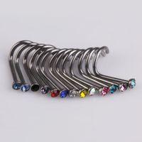 Wholesale Fashion Mix Colors Rhinestone Nose Studs Ring Bone Bar Pin Piercing Jewelry AO P