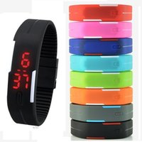fashion watch bracelet - 2015 Fashion men boys touch screen led watch Sports rectangle students silicone rubber bracelets digital watches for men