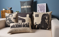 bamboo couches - Cushion Set THE WALKING DEAD Vintage Linen Cotton Pillow Case Sofa Decorative Pillow Covers Couch Pillowcase Home Decor
