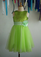 Cheap Mickey Girls Clothes Lime Green Sequins Tulle Flower Girl Dress Tutu Princess Kids Children Junior Bridesmaid with Ribbon flower for Wedding