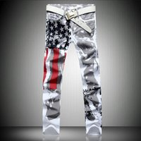 slim fit jeans - 2015 New Mens Fashion Jeans American flag stamp White Leisure Jeans Pomo Personality Slim Fit Jeans Painted Print jeans