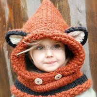 Beanie/Skull Cap beach hood - 2015 Winter Kids Warm Fox Animal Hats Baby Knitted Coif Hood Scarf Beanies for Autumn Winter Very Cute Soft Orange g