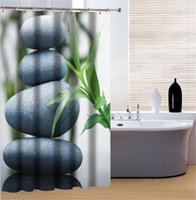 Wholesale Graceful Stone Vallisneria Print Good Waterproof Bathroom Shower Curtain for Sale
