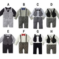 Wholesale 2015 New Infant Boy Rompers With Bow tie Baby One Piece Romper Kids Climb Clothes Toddler Plaid Jumpsuits Baby Romper