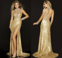 gorgeous fabrics - Gorgeous Gold Long Sleeves Evening Dresses High Neck Sheer Illusion Floor Length Bling Crystal Sequins Fabric Prom Dresses EM04931
