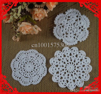 Wholesale Crochet pattern Doily hand made Crochet cup mat Black White Pink Natural Color CM aa3h51