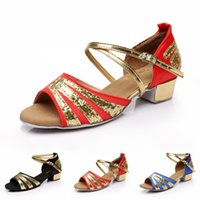 Wholesale Ballroom Latin Dance Shoes For Kid Girl s Shoes Glitter Satin Indoor Dance Shoes Asia Tag Size VY0045 salebags
