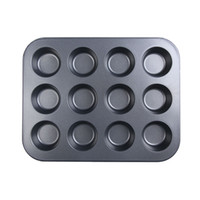 Wholesale 12 Stainless Iron Nonstick Baking Pan Tray Tin Cup Cakes Pudding Muffin Bun Clearance Sale