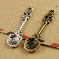 antique spoon - New Arrived Fashion Shell Spoon Charms Antique Bronze and Tibetan Silver Accessories DIY Jewelry Charms A3829