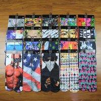Wholesale 3d socks kids women men hip hop socks d odd socks cotton skateboard socks printed gun emoji tiger skull socks Unisex socks WG5631