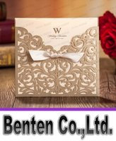 Wholesale Laser Cut Flower Bow Wedding Invitation Card Gold Flower Hollow Wedding Card Free Customized Printing Text LLFA3014F