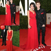 V-Neck selena gomez dress - Selena Gomez V neck A Line Spaghetti Strap Sash Chiffon Oscars Red Carpet Celebrity Dresses Evening Dress Zipper Back