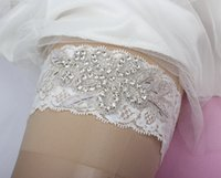 Wholesale New Arrival Beading Bridal Garters with Crystals Wedding Leg Garters In Stock White Black Bridal Accessories J1223