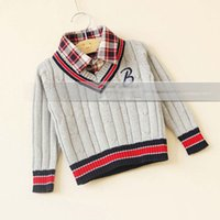 Cheap 2015 Spring Boys Pullover Baby Sweaters False Two Plaid Shirt Collar Knit Jumper Kids Clothes European Children's Clothing Cheap 02 1502z
