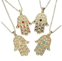 Wholesale 2016 hamsa hand necklace with multi colors stones paved fashion jewelry